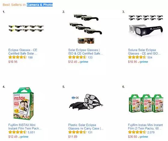 一个日全食,他们卖出了数百万副日食眼镜! (附亚马逊需求证明)