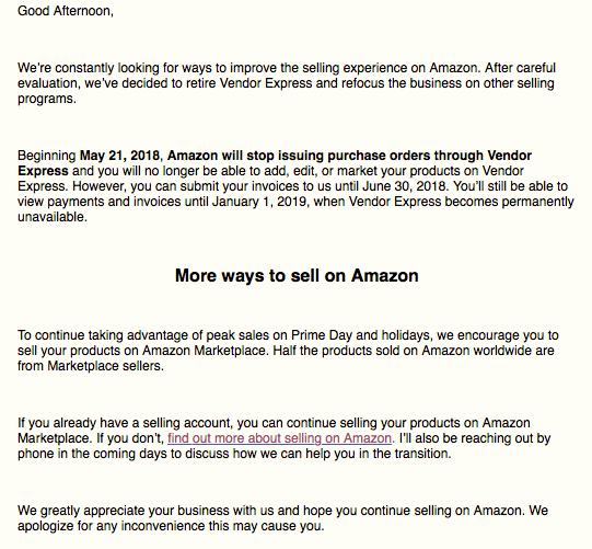 亚马逊要关闭Vendor Express了!卖家你们收到邮件了吗?